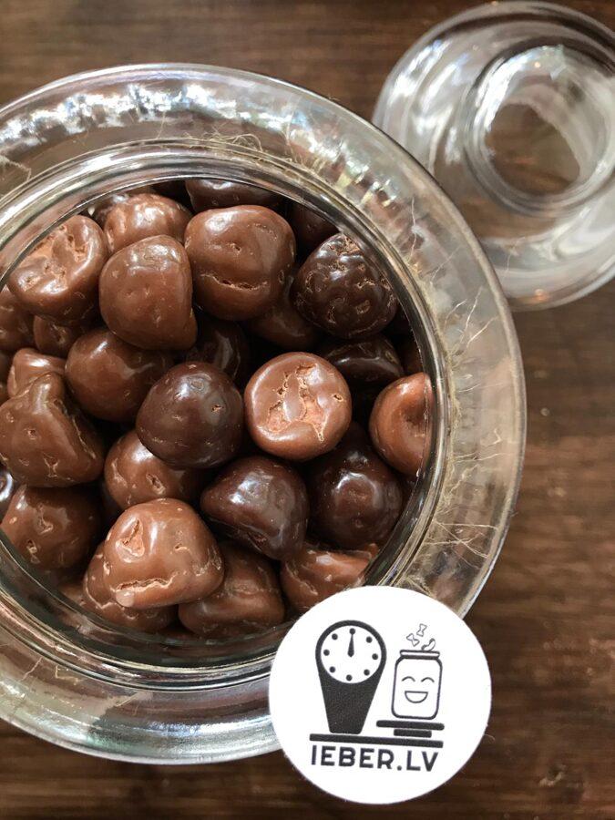 Zefīra vaniļas lāsītes pārklātas ar šokolādi 50g
