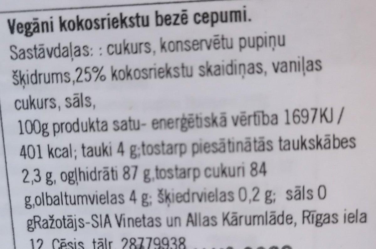 Vegan kokosriekstu bezē cepumi 50g