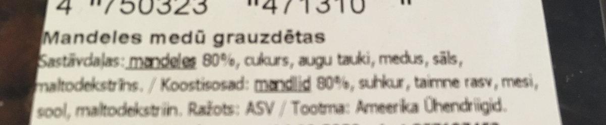 Mandeles medū grauzdētas 50g